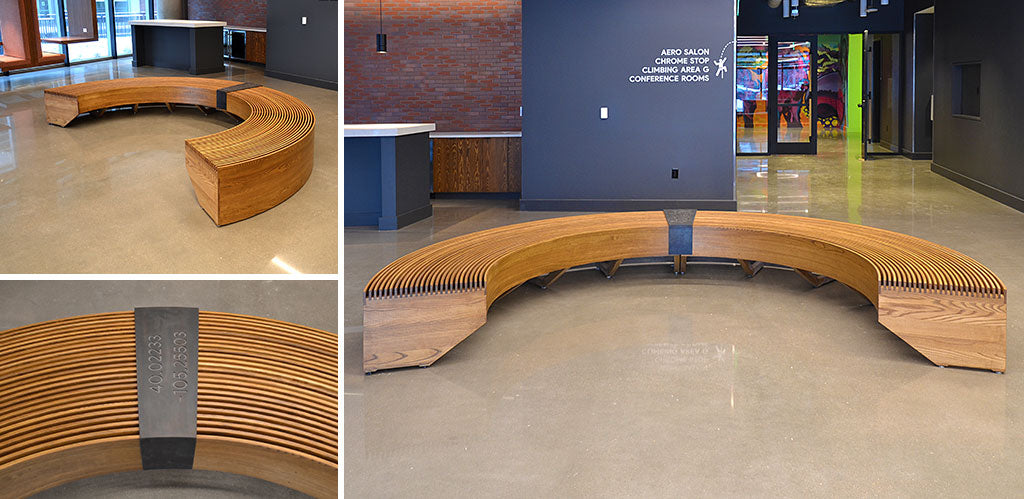 Custom Curved Bench designed by Sjotime Industries for Google