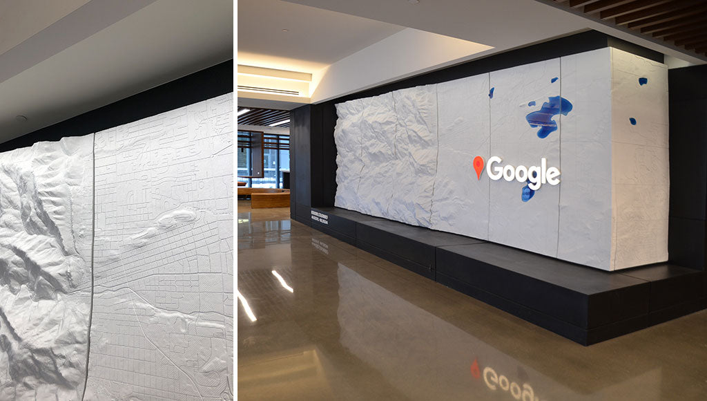 Custom Topographic Feature Wall designed by Sjotime Industries for Google