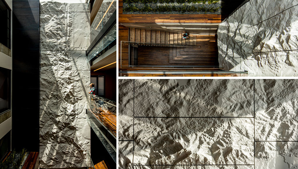 Custom Topographic Feature Wall Designed by Sjotime Industries for PearlWest, Photos by James Florio Photography