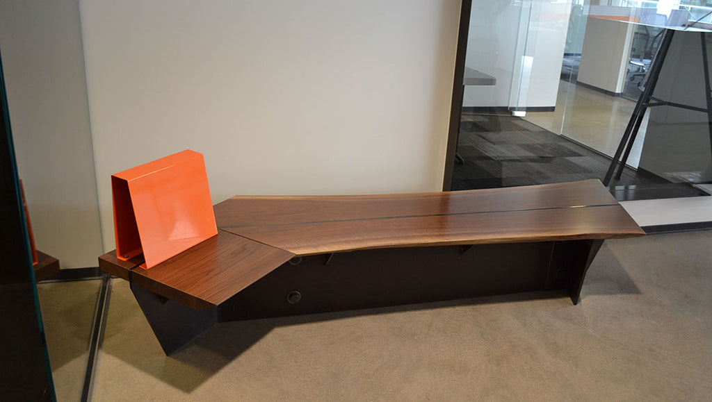 Custom Walnut & Steel Bench Designed by Sjotime Industries for Thornton Tomasetti