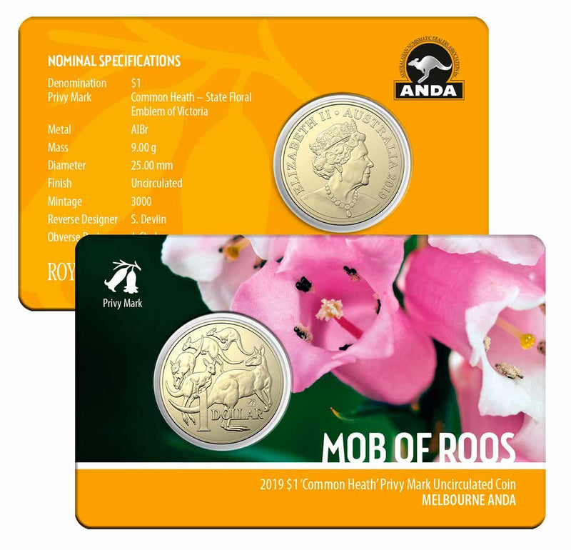 2019 $1 Mob of Roos Common Heath Privymark Melbourne Money Expo ANDA Coin