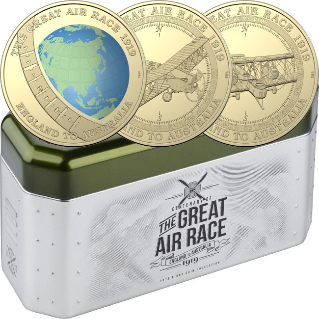 2019 Centenary Of The England To Australia Air Race 8x $1 One Dollar Coin Set