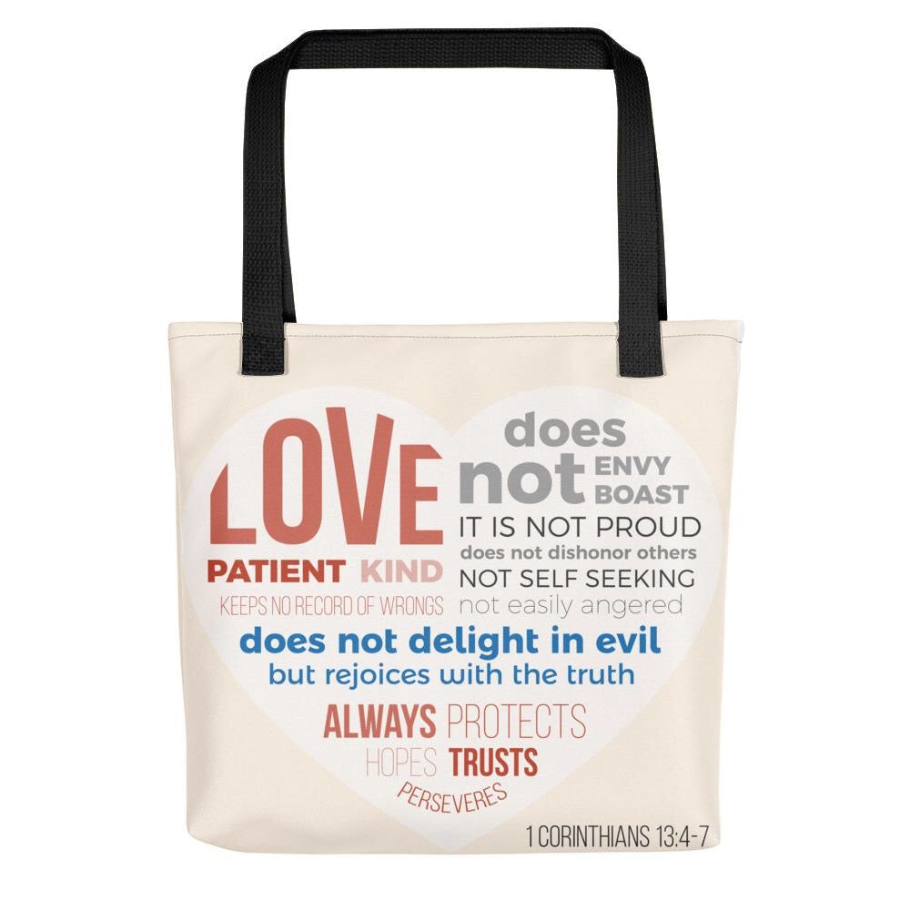 Love is Patient; Love is Kind - Stylish, Roomy Tote Bag - Black or Red Straps