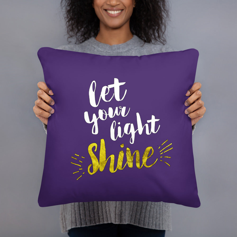 Let Your Light Shine - Oversized Throw Pillow - Purple
