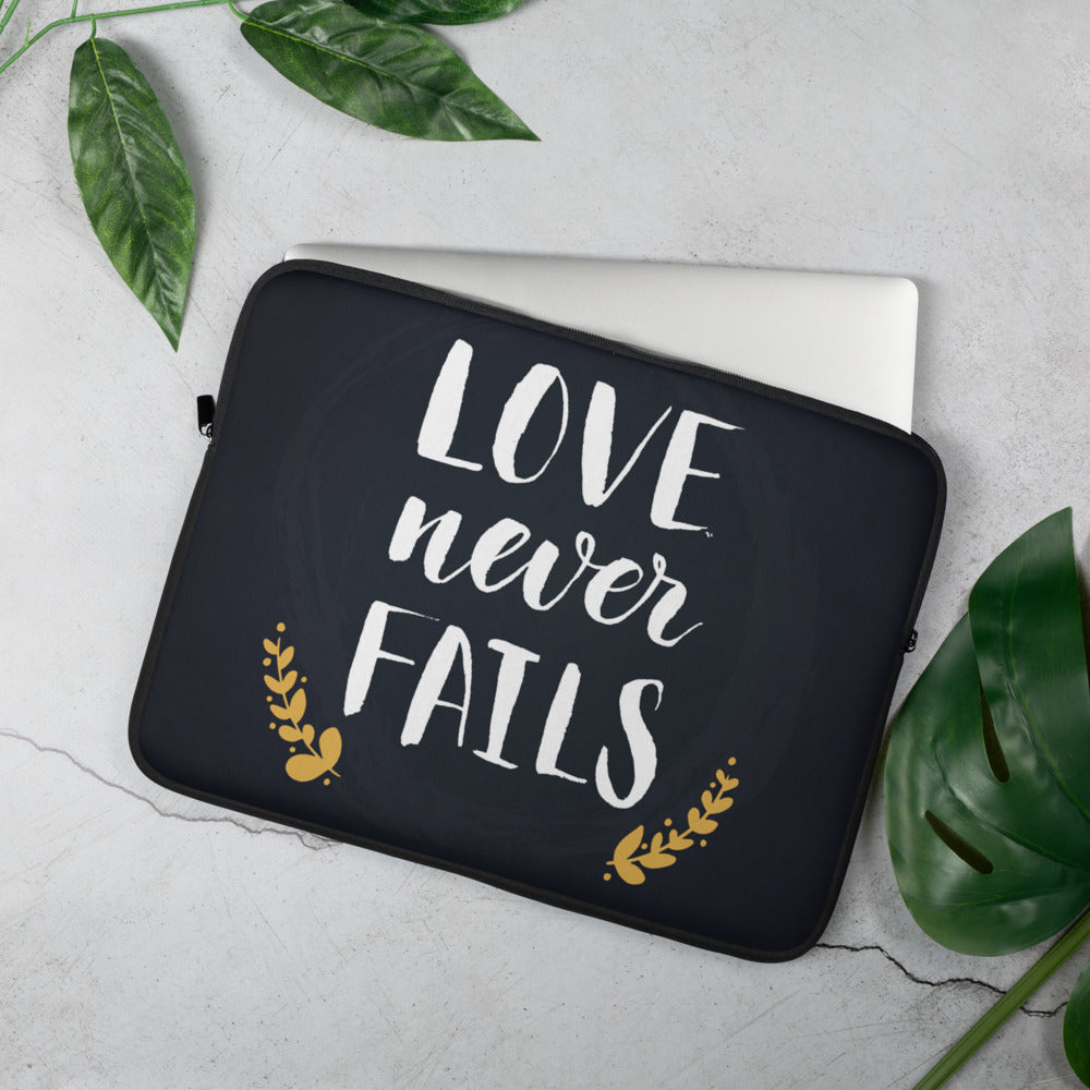 Love Never Fails - Laptop or Tablet Sleeve - 13 in and 15 in