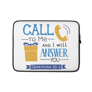 Call to Me - Laptop or Tablet Sleeve - 13 in and 15 in - White