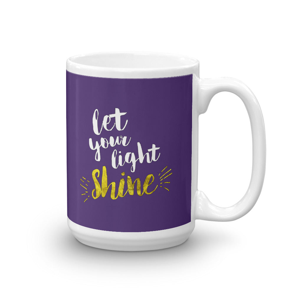 Let Your Light Shine - Glossy Premium Mug - 11oz and 15oz - Purple