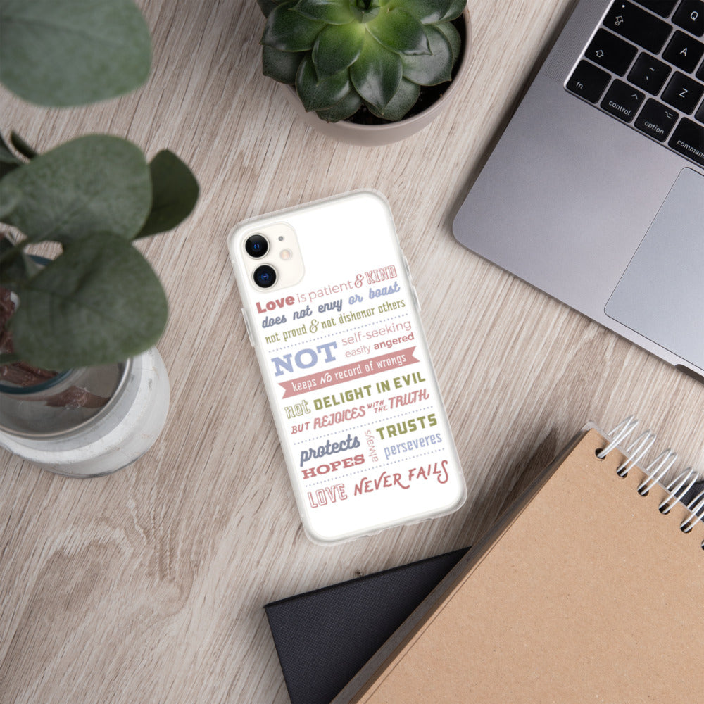 Love Chapter, 1 Corinthians 13 - iPhone Case - For iPhone 11, 11 Pro, 11 Pro Max, 6 Plus/6s Plus, 6/6s, 7 Plus/8 Plus, 7/8, X/XS, XR, XS Max - White