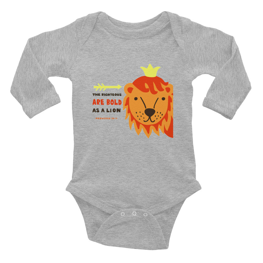 Bold as a Lion - Rabbit Skins Premium Long-Sleeve Baby Onesie Infant Bodysuit