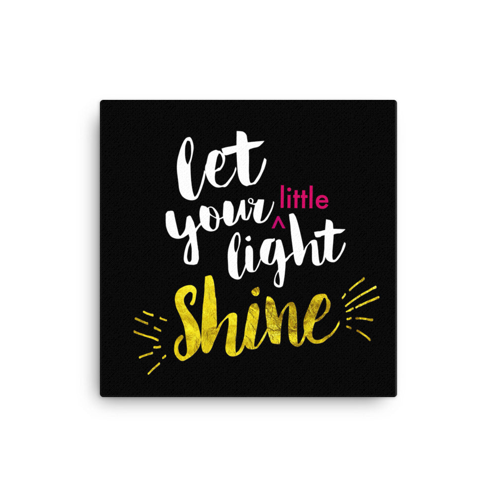 Let Your Little Light Shine - Wall Canvas  - Ready-To-Hang Wall Art for Kids Room or Playroom - Black