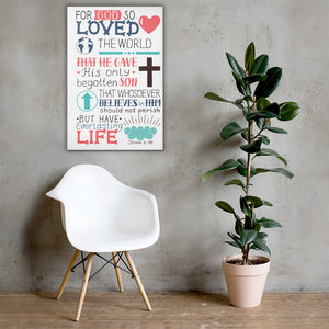 John 3:16 - Wall Canvas - Inspiring, Ready-To-Hang Wall Art - White