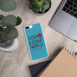 God So Loved the World - iPhone Case - For iPhone 11, 11 Pro, 11 Pro Max, 6 Plus/6s Plus, 6/6s, 7 Plus/8 Plus, 7/8, X/XS, XR, XS Max - Blue