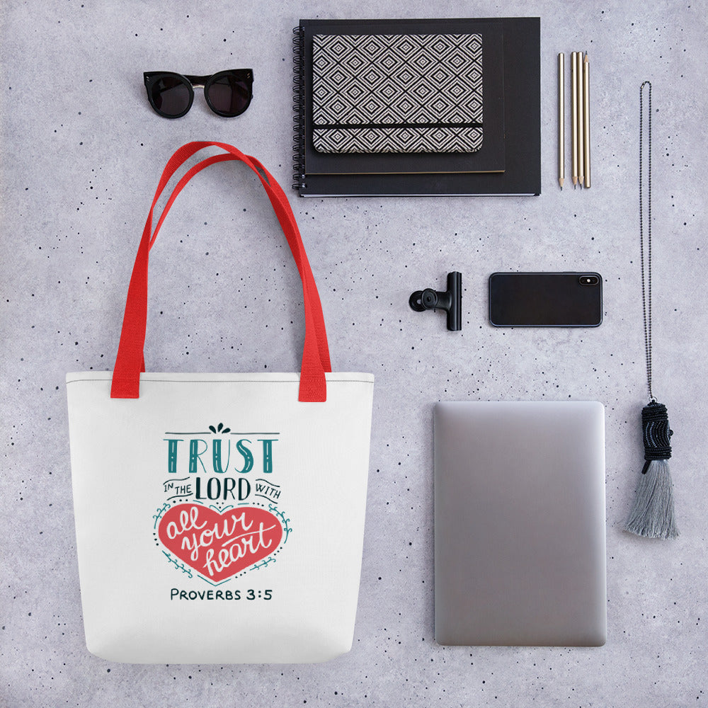 Trust in the Lord - Stylish, Roomy Tote Bag - Black or Red Straps