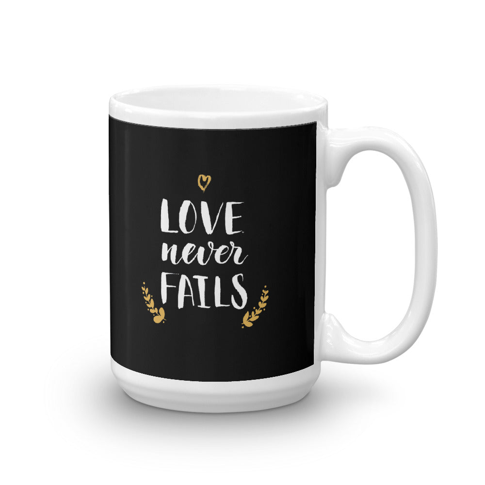 Love Never Fails - Glossy Premium Mug - 11oz and 15 oz