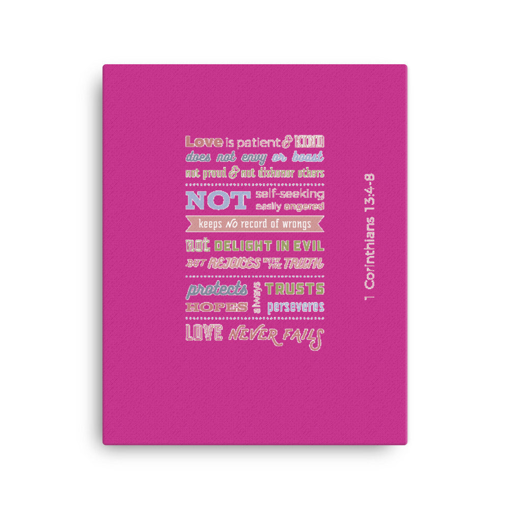 Love Chapter 1 Corinthians 13 - Wall Canvas - Inspiring, Ready-To-Hang Wall Art - Pink