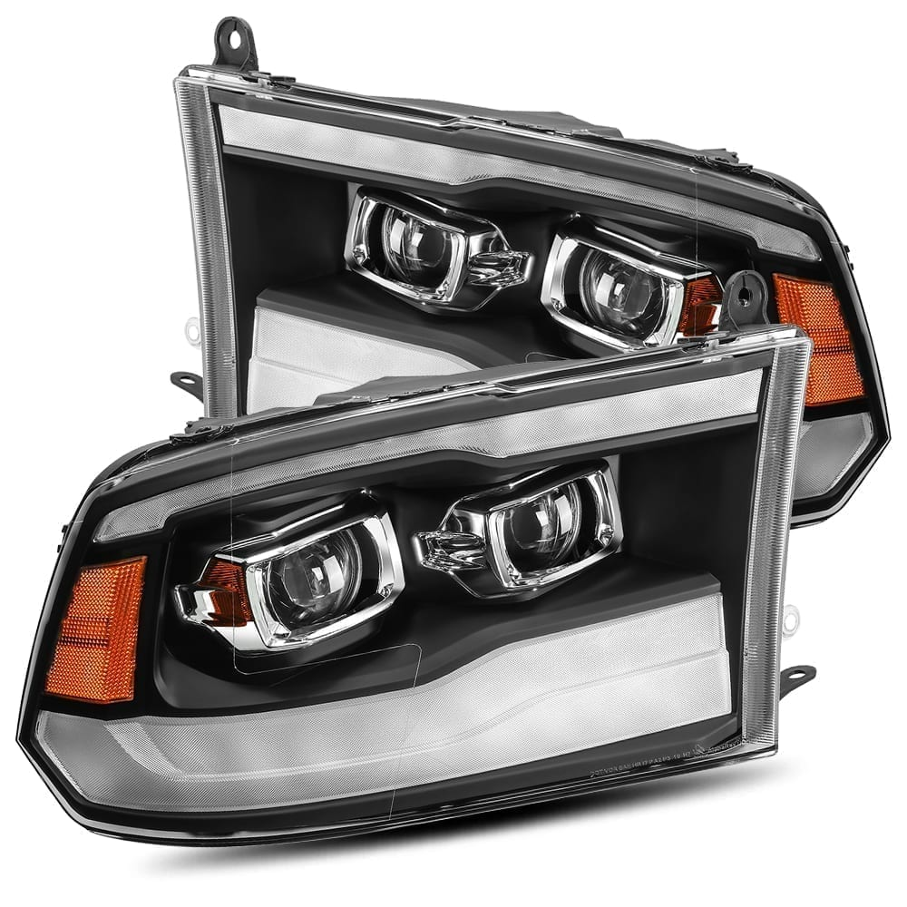 AlphaRex 09-18 Dodge Ram 1500HD PRO-Series Projector Headlights Plank Style Black w/Seq Signal/DRL