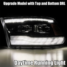 Load image into Gallery viewer, AlphaRex 09-18 Dodge Ram 1500HD PRO-Series Projector Headlights Plank Style Black w/Seq Signal/DRL