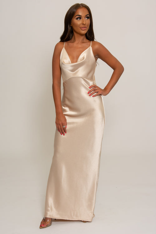 Bethany Satin Cowl Neck Bridesmaid Dress