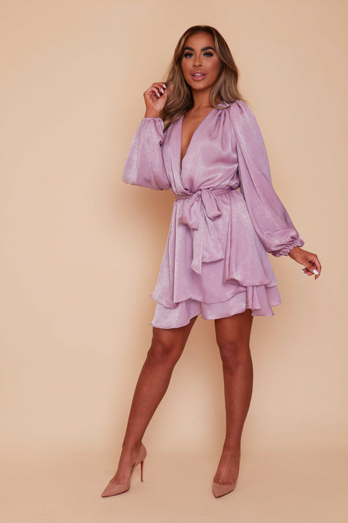 Mauve Madison New Fit Velvet Satin Layered Dress (RTS)
