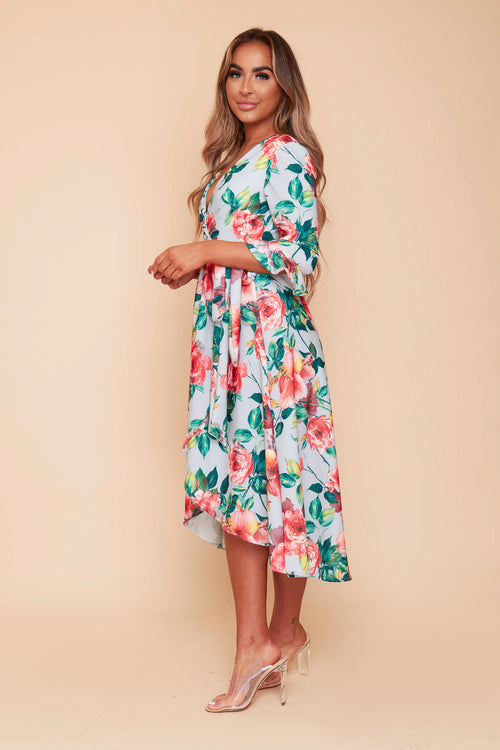 Grace Grey Floral Wrap Dress