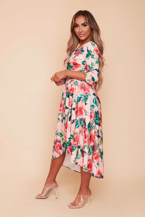 Grace Coral Floral Wrap Dress
