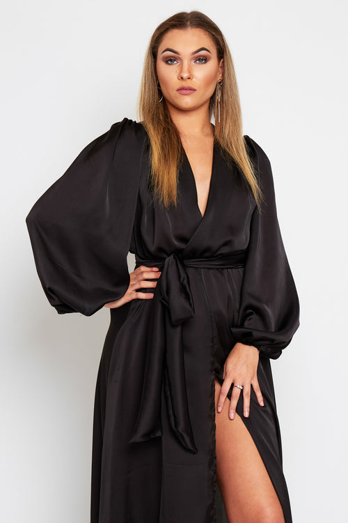 Giselle Silky Maxi Dress With Bell Sleeves and belt