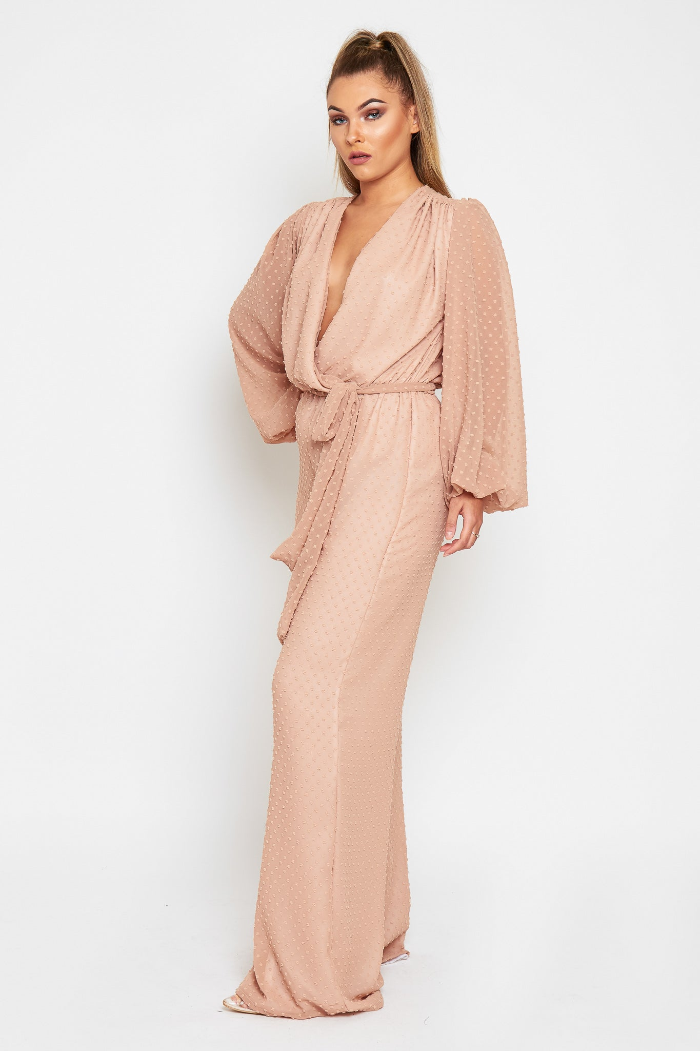 GRACE Polka Dot Chiffon Nude Loose Leg Jumpsuit (more colours available)
