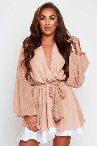 MADISON Magenta Silky Satin Oversized Sleeve Dress With Waist Tie