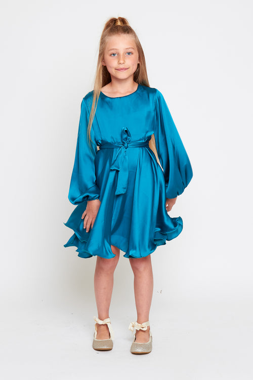 LANA Girls Long Sleeve Skater Silky Satin Dress