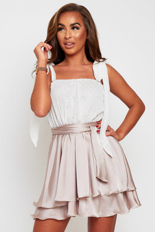 Cassie tie shoulder contrast satin dress