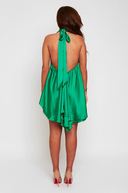 Anya loose fit tie neck backless dress