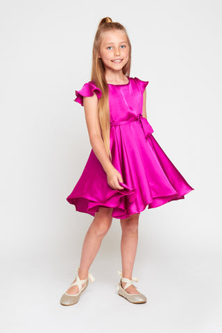 MAYA Girls Magenta Frill Sleeve Skater Silky Satin Dress
