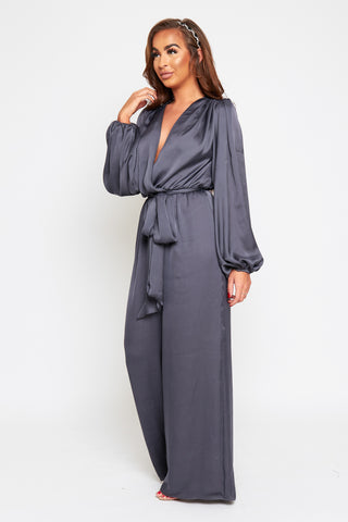 ZAIRE Steel Grey Wrap Front Loose Leg Jumpsuit