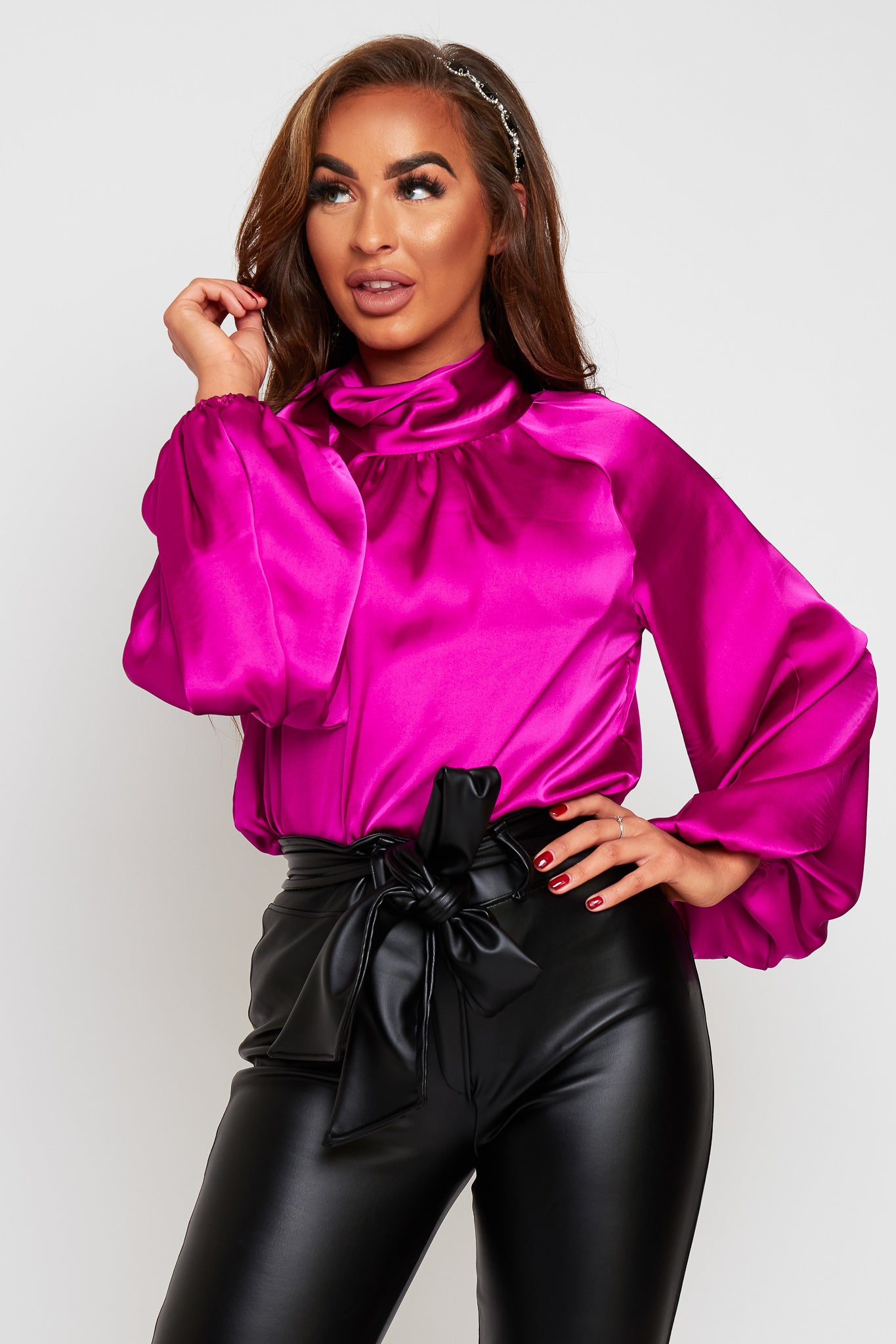 NINA Magenta Tie Neck Blouse With Oversized Sleeves