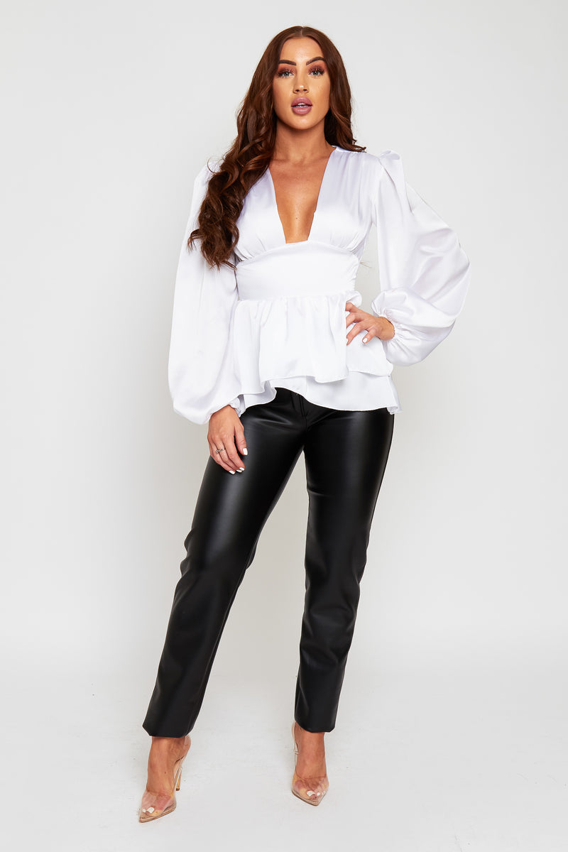 Lily Silk Feel Peplum Top With Oversized Sleeves