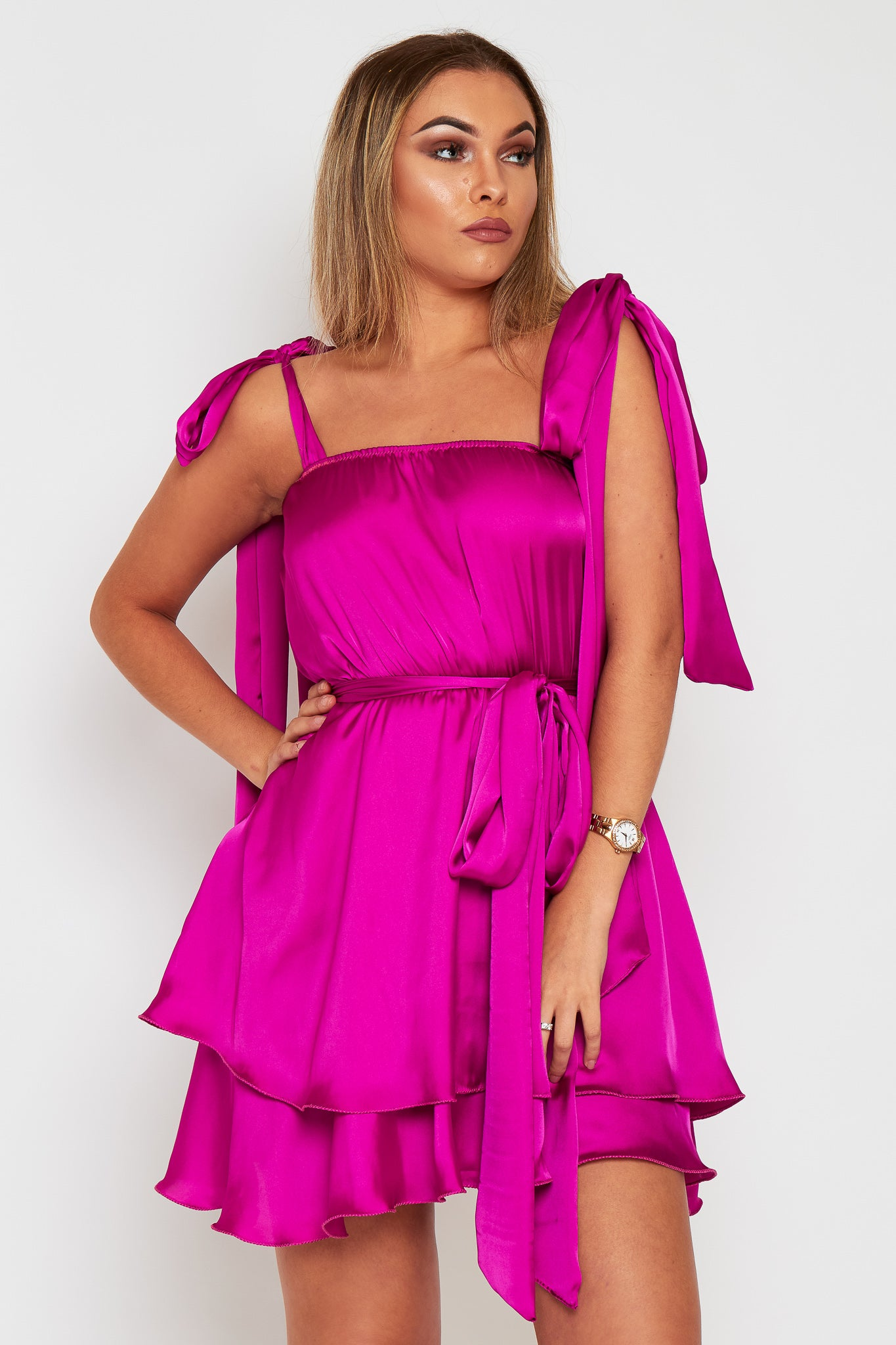 Ella Satin Dress With Tie Shoulders (more colours available)