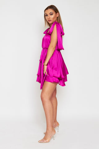 ELLA Magenta Tie Shoulder Floaty Tie Waist Dress