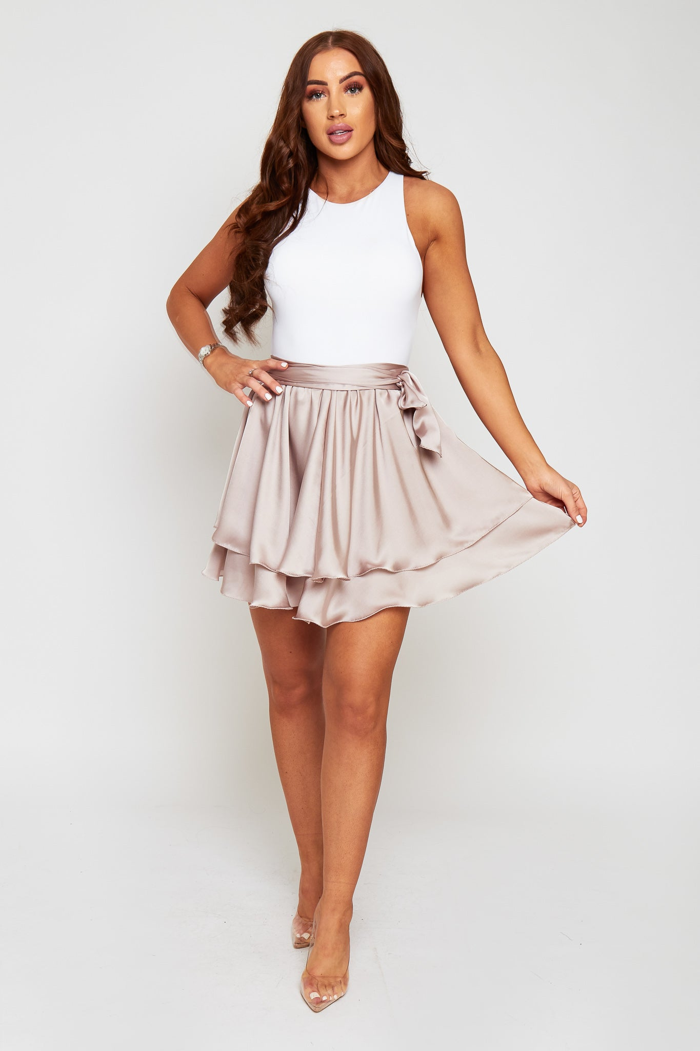 MARIA Silky Satin Double Layered Floaty Mini Skirt With Waist Wrap