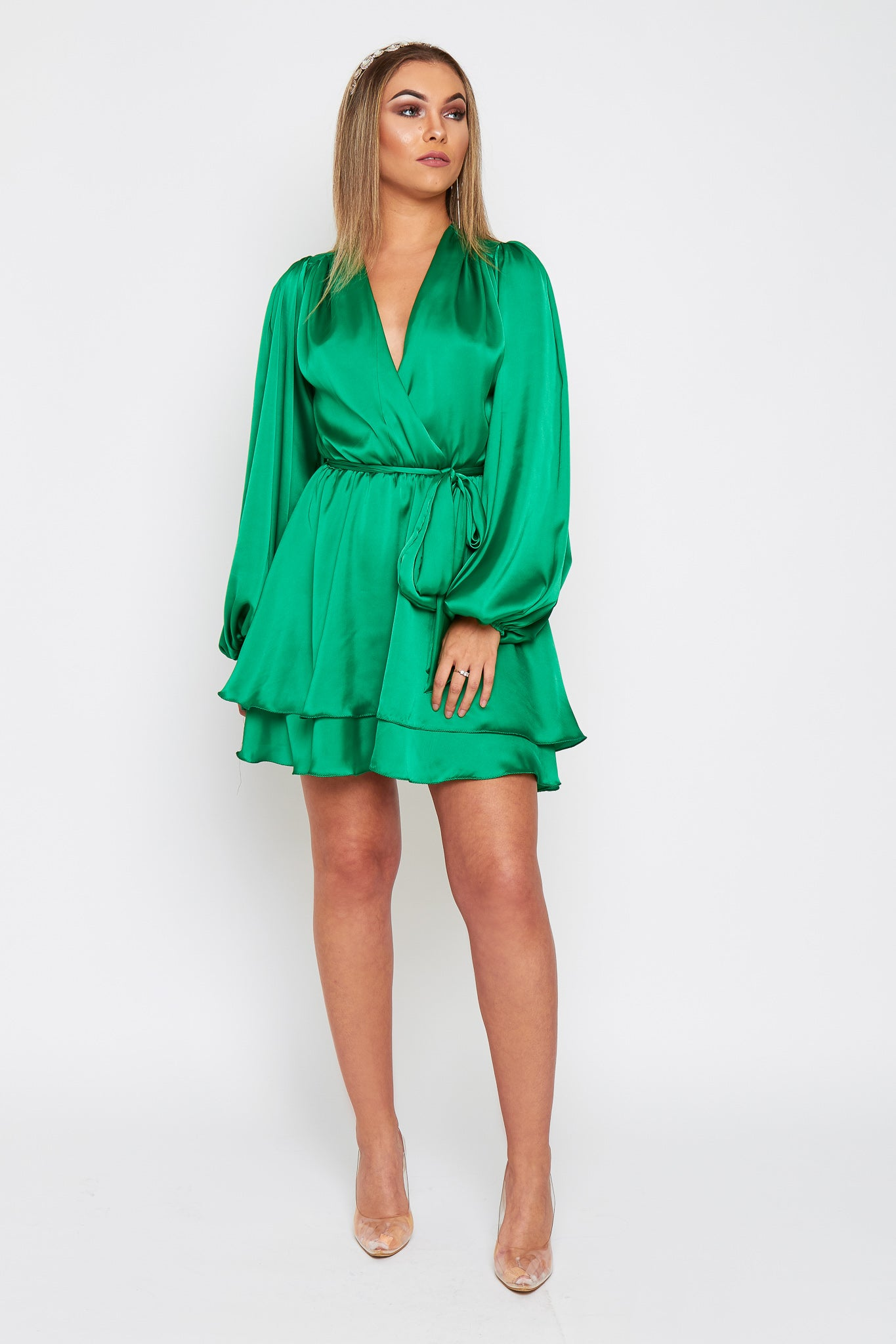 MADISON Silky Satin Oversized Sleeve Dress With Waist Tie