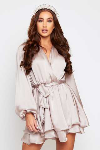 MADISON Mink Silky Satin Oversized Sleeve Dress With Waist Tie