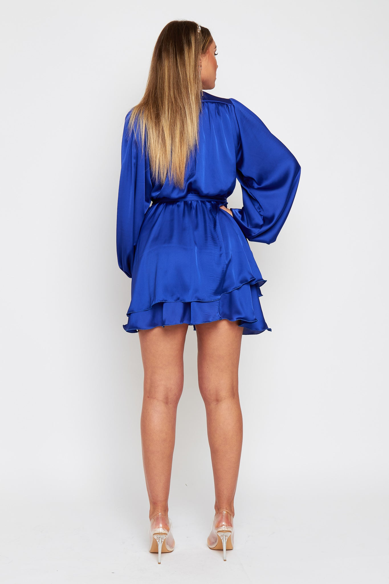 MADISON Electric Blue Silky Satin Oversized Sleeve Dress With Waist Tie