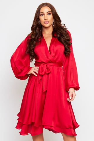 MADISON Midi Length Red Oversized Sleeve Floaty Dress
