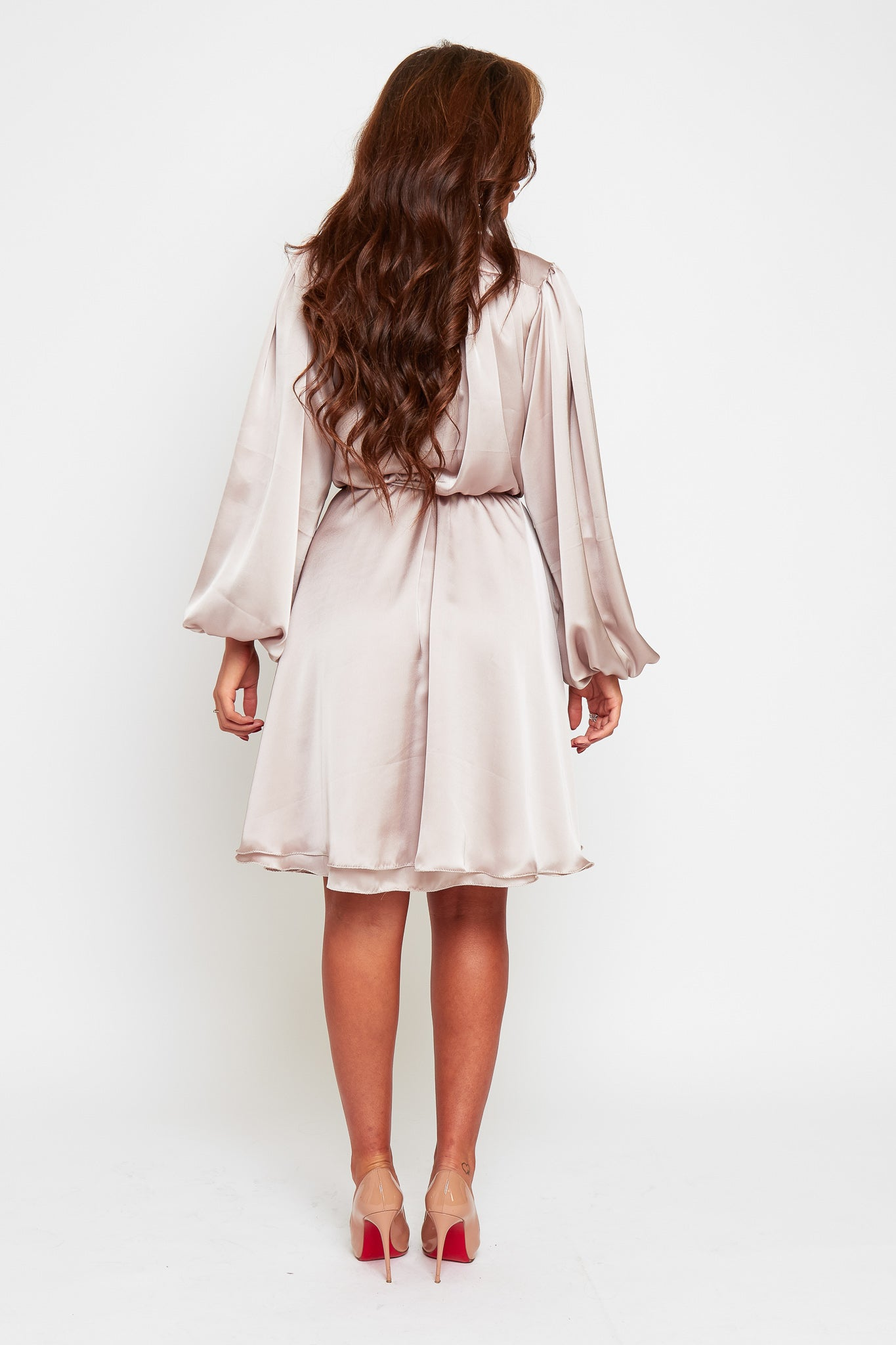 MADISON Midi Length Mink Oversized Sleeve Floaty Dress