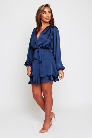 MADISON Navy Silky Satin Oversized Sleeve Dress With Waist Tie