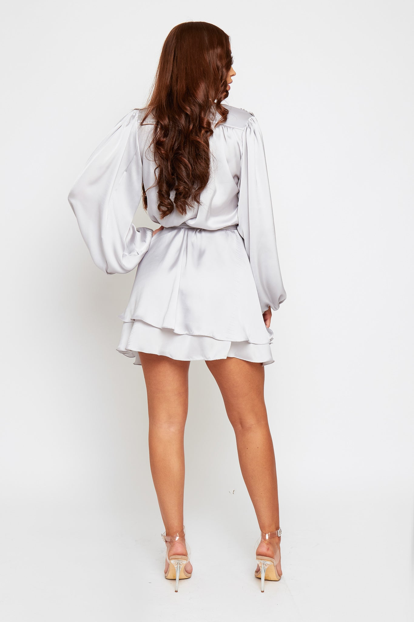 MADISON Silver Silky Satin Oversized Sleeve Dress With Waist Tie