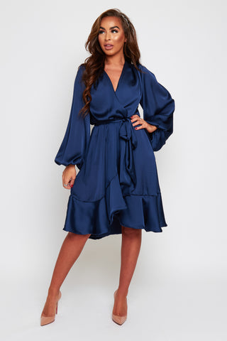 MAYA Wrap Style Frilled Hem Dress (more colours available)