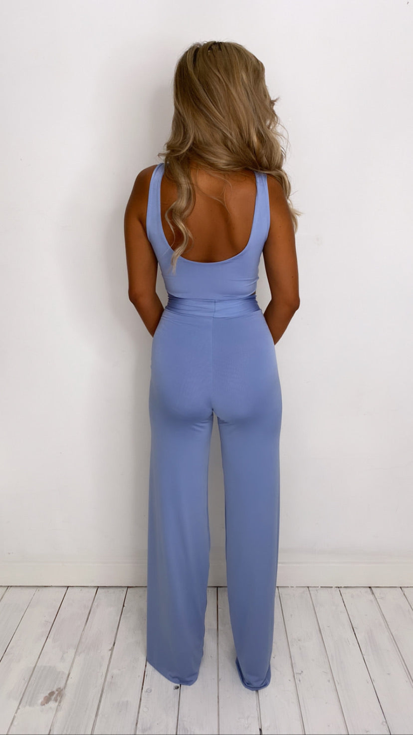 Set tie front crop top with highwaist loose leg trouser and matching mini scrunchy (More Colours Available)