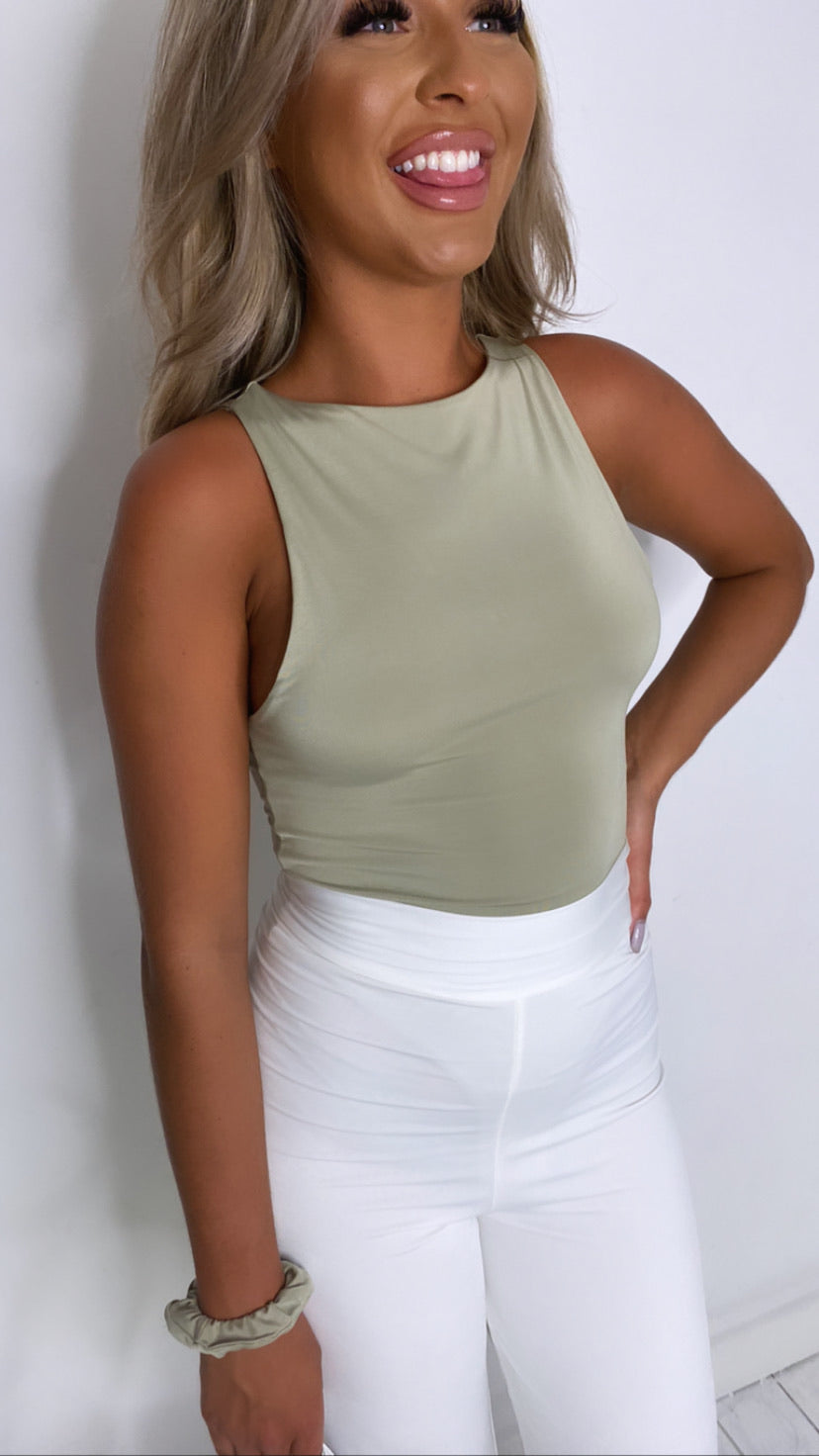 Olive high neck bodysuit With Matching Mini Scrunchy (More Colours Available)