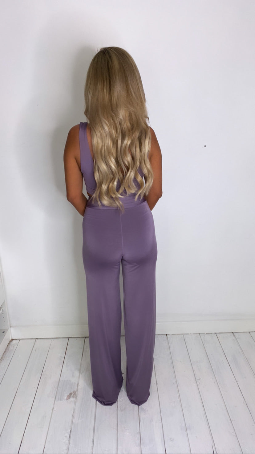 Mauve Scoop Front Crop Top With Matching Mini Scrunchy (More Colours Available)