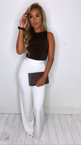Wide leg high waist trousers With Matching Mini Scrunchy (More Colours Available)